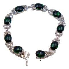 Vintage Faux Emeralds and Diamonds Bracelet 1950's