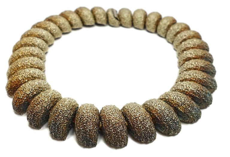 Vintage Faux Gold & Silver Nugget Collar Necklace In Good Condition For Sale In New York, NY