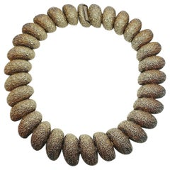 Vintage Faux Gold & Silver Nugget Collar Necklace