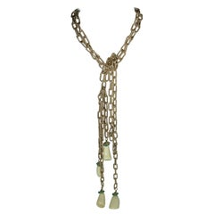 Vintage Faux Ivory & Turquoise Two-Strand Chain Necklace/Belt