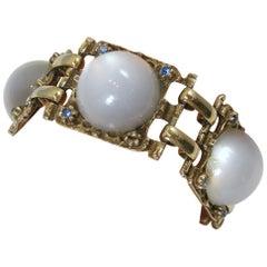 Vintage Faux Moonstone & Blue Crystals Bracelet