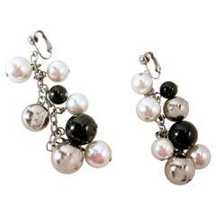 Vintage Faux Pearl, Black & Silver Tone Bead Drop Earrings