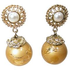 Vintage Faux Pearl & Gold Tone Drop Earrings