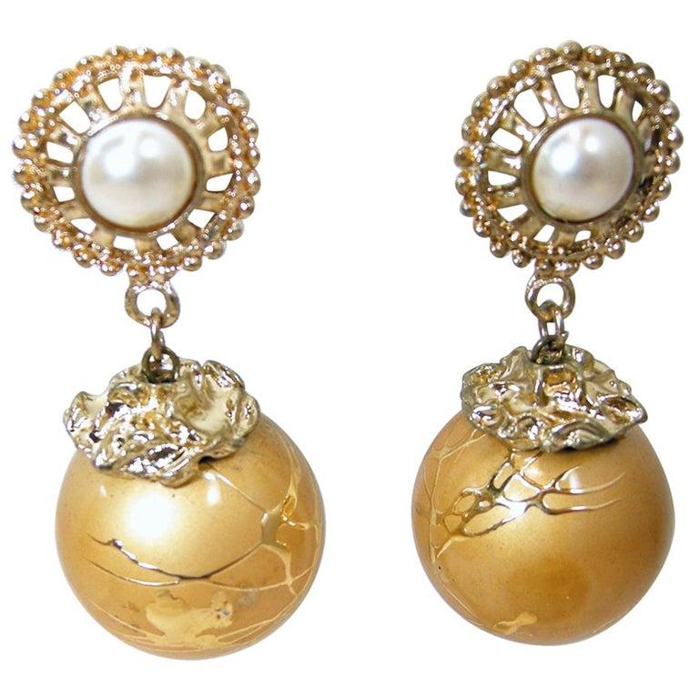 Vintage Faux Pearl Gold Tone Drop Earrings