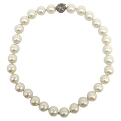 Vintage Faux Pearl Necklace, Choker Collar Style Length, Mid 1900s, 15 Inches