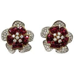 Vintage Faux Ruby & Diamond Crystal Flower Earrings 1990s