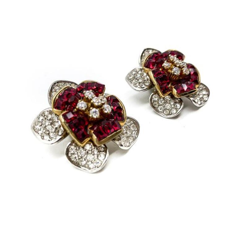 Vintage Faux Ruby & Diamond Crystal Flower Earrings In Silver 1990s In Good Condition For Sale In Wilmslow, GB