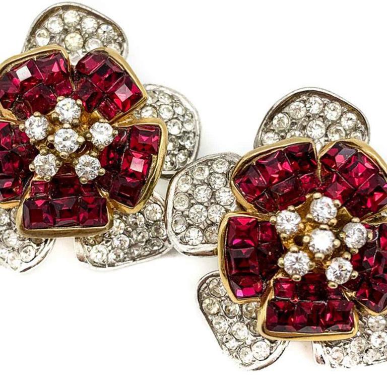 Women's Vintage Faux Ruby & Diamond Crystal Flower Earrings In Silver 1990s For Sale