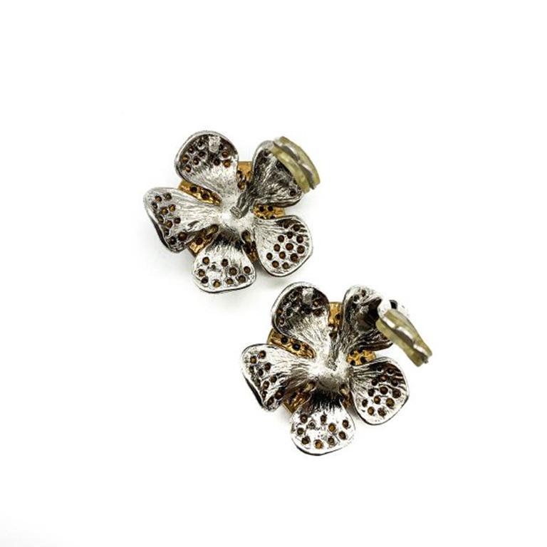 Vintage Faux Ruby & Diamond Crystal Flower Earrings In Silver 1990s For Sale 1