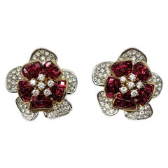 Vintage Faux Ruby & Diamond Crystal Flower Earrings In Silver 1990s