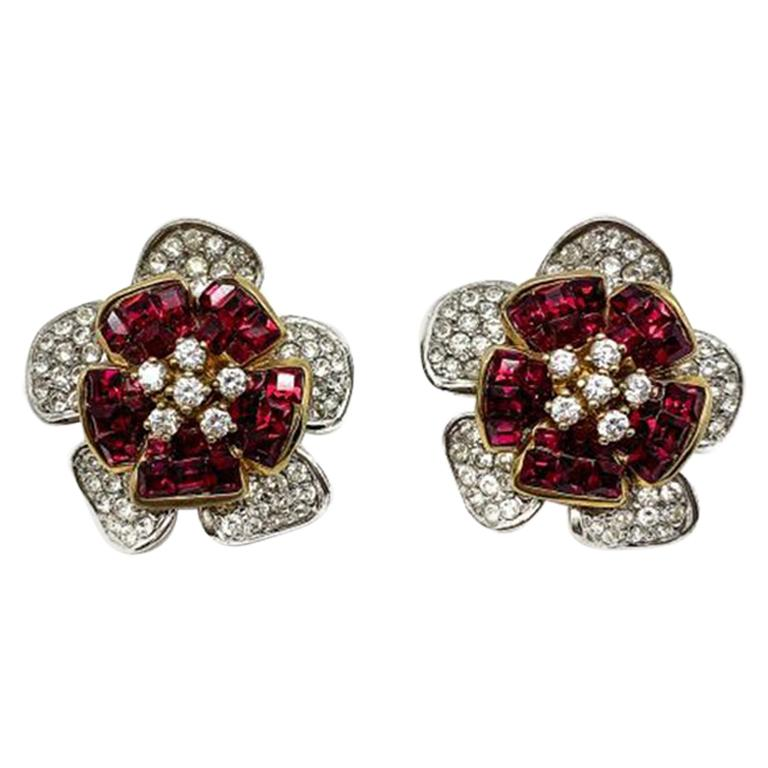 Vintage Faux Ruby & Diamond Crystal Flower Earrings In Silver 1990s For Sale