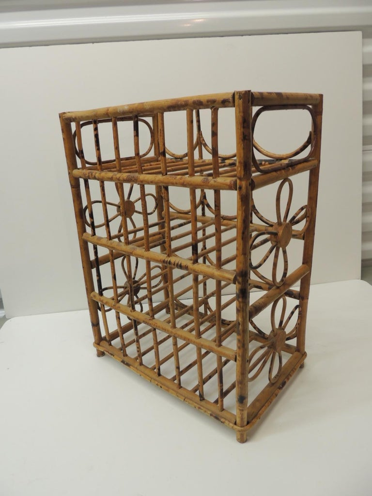 Balinese Vintage Faux Tortoise Bamboo Wine Rack For Sale