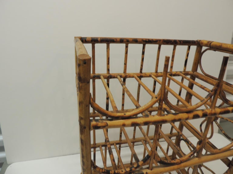 Hand-Crafted Vintage Faux Tortoise Bamboo Wine Rack For Sale