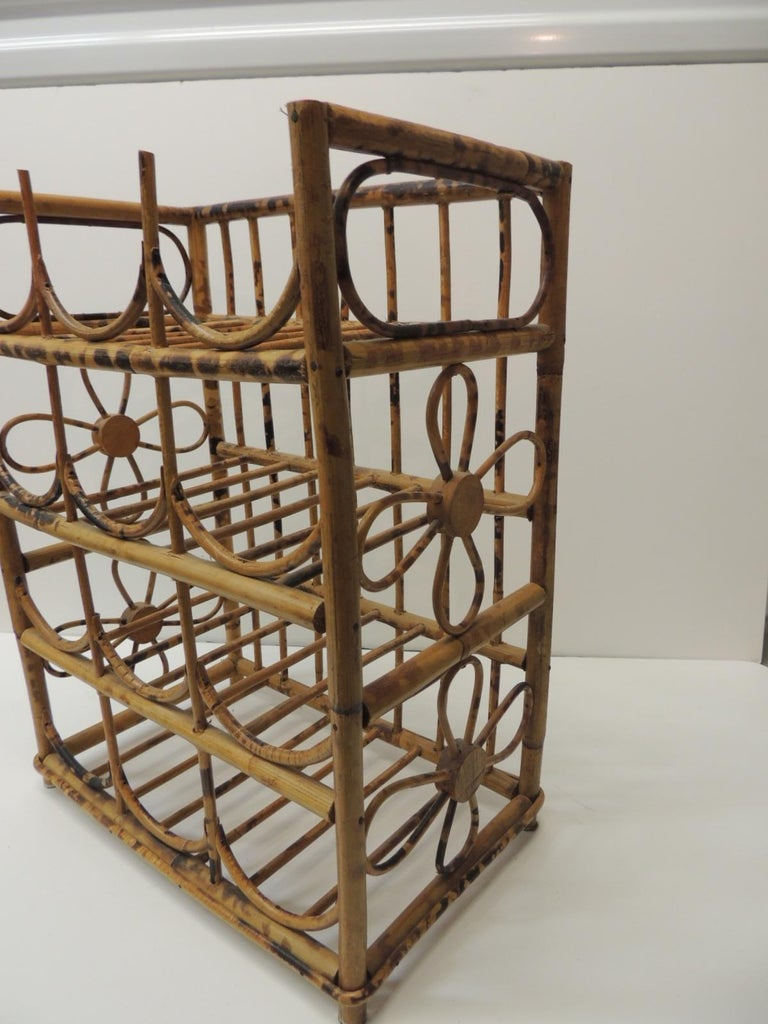 Vintage Faux Tortoise Bamboo Wine Rack In Good Condition For Sale In Fort Lauderdale, FL