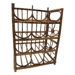 Vintage Faux Tortoise Bamboo Wine Rack