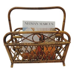 Vintage Faux Tortoise Magazine Rack in Bamboo and Rattan