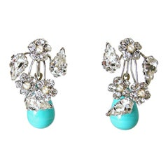 Vintage Faux Turquoise And Crystal Drop Earrings