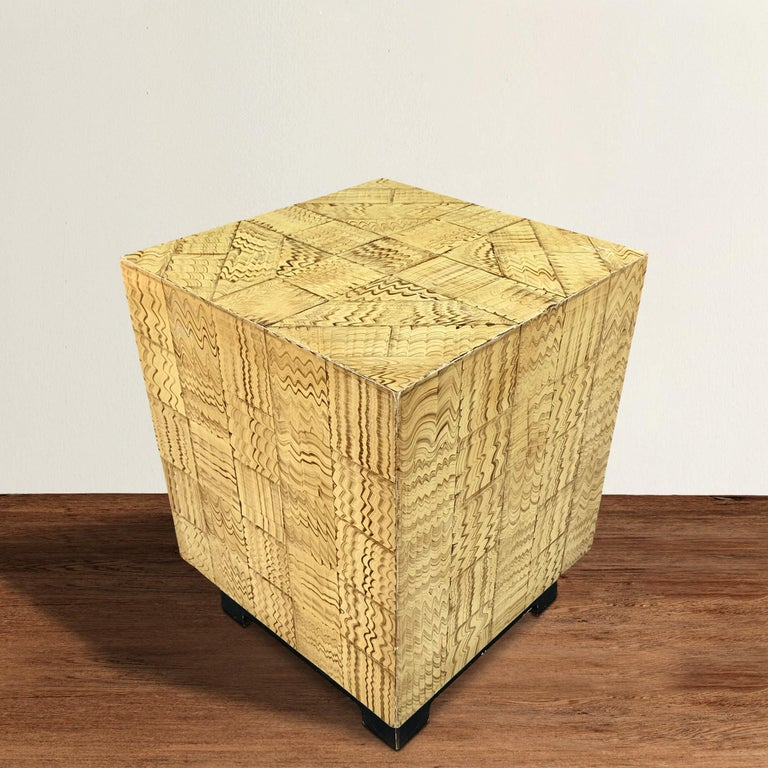 A wonderfully charming vintage American side table with a faux wood grain painted patchwork finish. The perfect perch for a cocktail, a bowl of nuts, or your laptop next to your favorite chair.