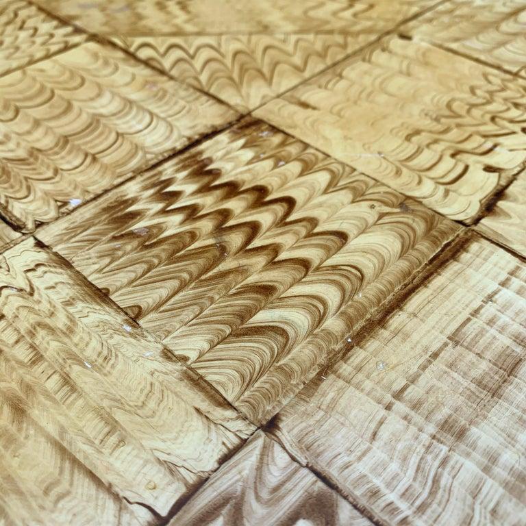 Vintage Faux Wood Grain Painted Side Table For Sale 2