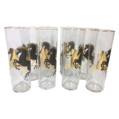 Vintage Federal Glass Tom Collins / Zombie Glasses with Gold & Black Stallions