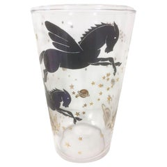 Vintage Federal Glasses with Pegasus Among Stars and Planets in Black and Gold