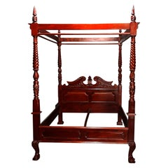 Vintage Federal Style Carved Mahogany Canopy Queen Size Tester Bed, 20th Century
