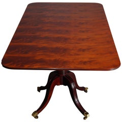 Vintage Federal Style Flame Mahogany Banquet Table, Four Leaves, 20th Century