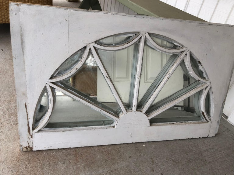 Glass Vintage Federal Style Palladium Mirrored Window For Sale