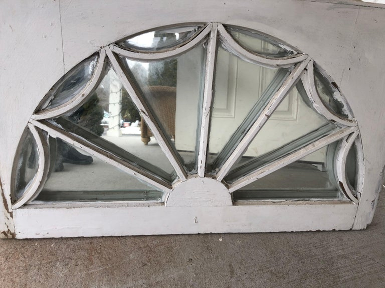 Vintage Federal Style Palladium Mirrored Window For Sale 2