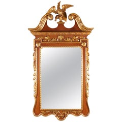 Vintage Federal Style Parcel Gilt Grain Painted Phoenix Wall Mirror