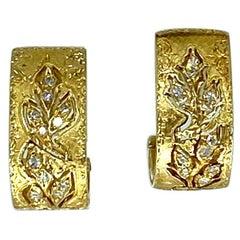 Vintage Federico Buccellati Rampage 0.48 Carat Diamonds Clip Hoop Earrings 18k