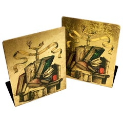 Vintage Felice Galbiati Hand Finished Gold Colored Metal Bookends