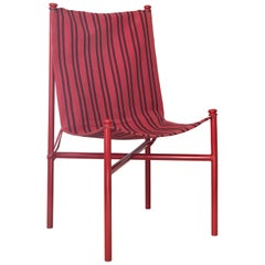 Vintage Felix Aublet Red Steel and Fabric Chair Designed in 1935