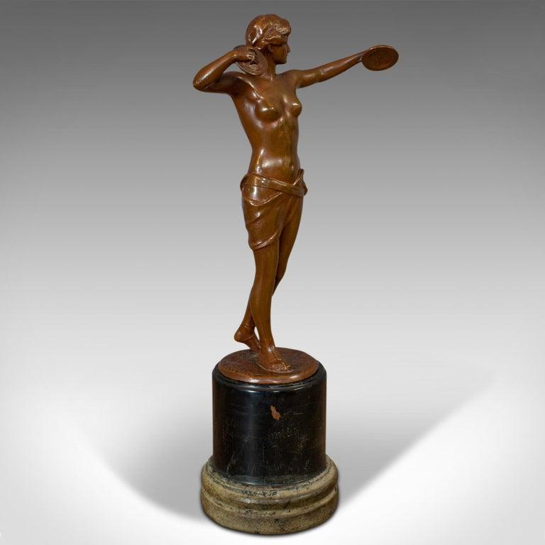 Vintage Female Figure, French, Bronze Spelter, Art Deco, Statuette, circa 1930 In Good Condition For Sale In Hele, Devon, GB