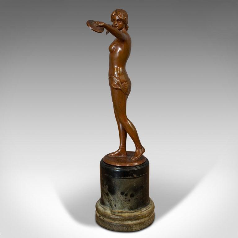 20th Century Vintage Female Figure, French, Bronze Spelter, Art Deco, Statuette, circa 1930 For Sale