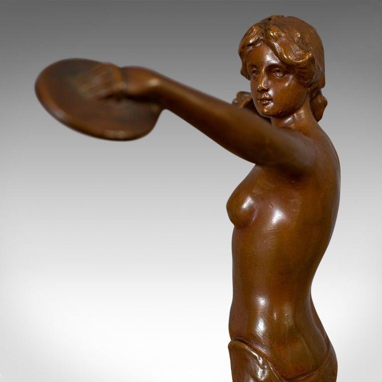 Vintage Female Figure, French, Bronze Spelter, Art Deco, Statuette, circa 1930 For Sale 4