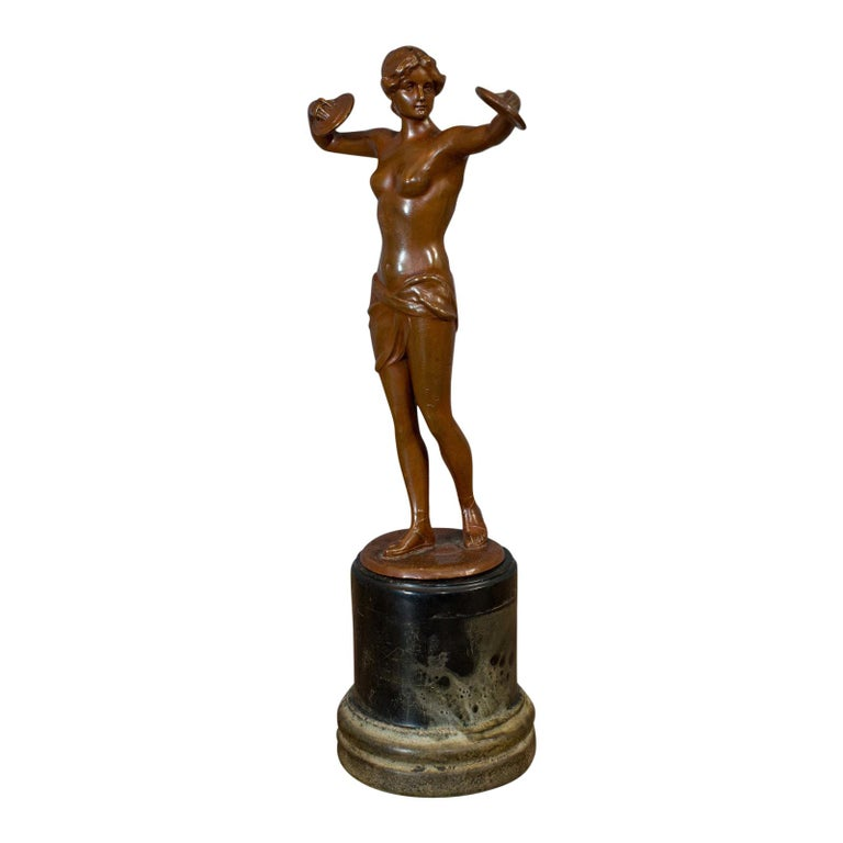 Vintage Female Figure, French, Bronze Spelter, Art Deco, Statuette, circa 1930 For Sale