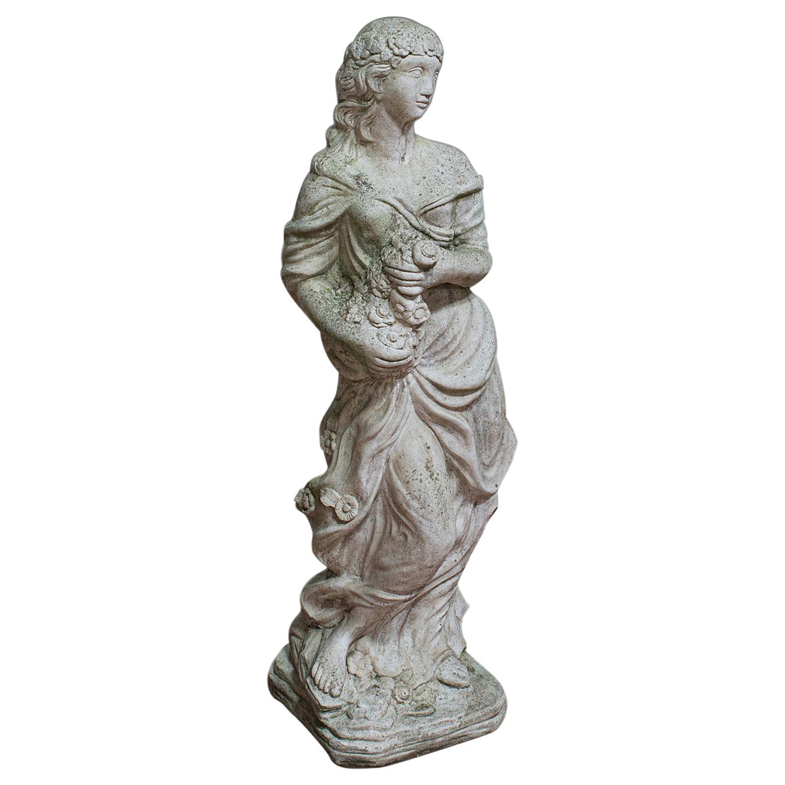 Vintage Female Statue, Reconstituted Stone, Garden, Ornament, circa 1950