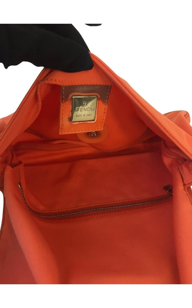 Vintage Fendi Baguette Coral Nylon For Sale 3