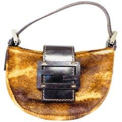 Vintage Fendi Brown Fur and Leather Mini Evening Purse Bag