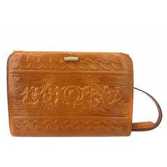 Fendi Vintage brown leather shoulder bag / large clutch purse with embossed art