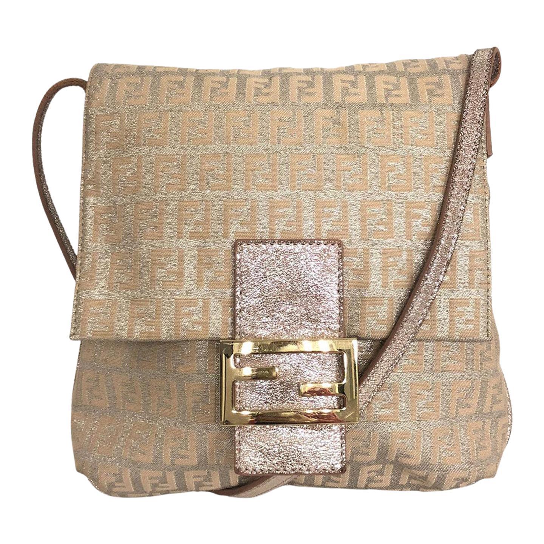 Vintage Fendi Crossbody Bag Canvas - Silver and Pink