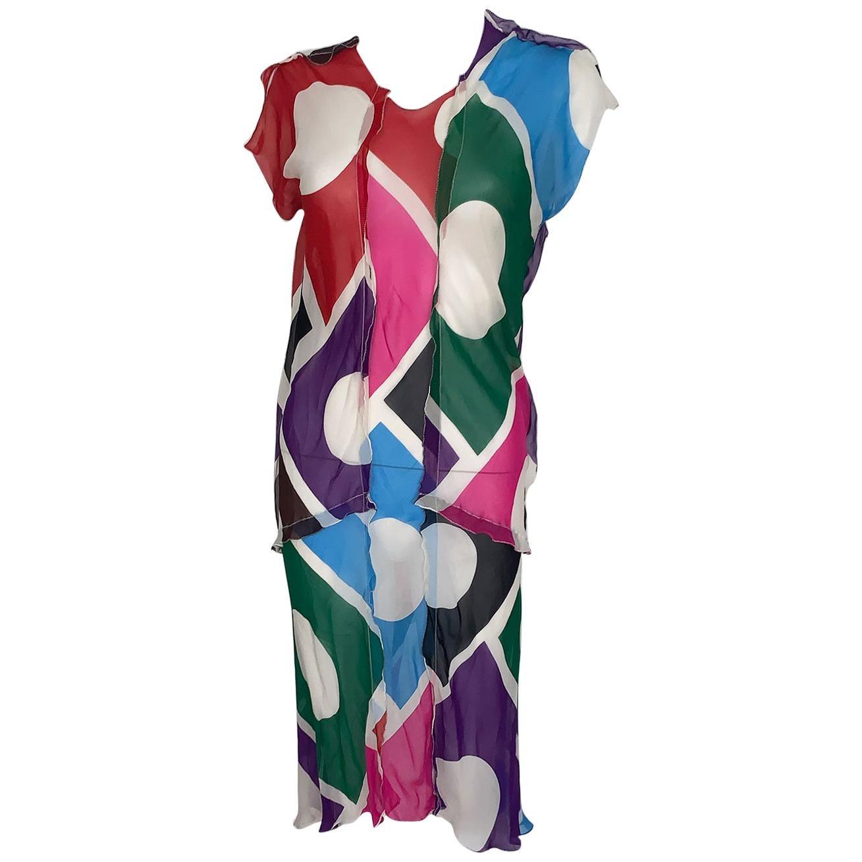 Vintage Fendi dress Silk multicolor
