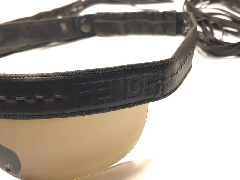 Vintage Fendi FS341 Limited Edition Leather Fringe Wrap Around 1990 Sunglasses For Sale 3