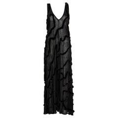 Vintage Fendi Karl Lagerfeld Semi Sheer Low Cut Fur Maxi Dress, 2000
