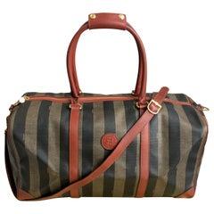 Vintage Fendi Pequin Duffle Bag Stripe Travel Bag Carry On 80s