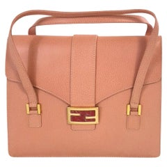 Vintage Fendi Pink Leather Top Handle Bag with Marble