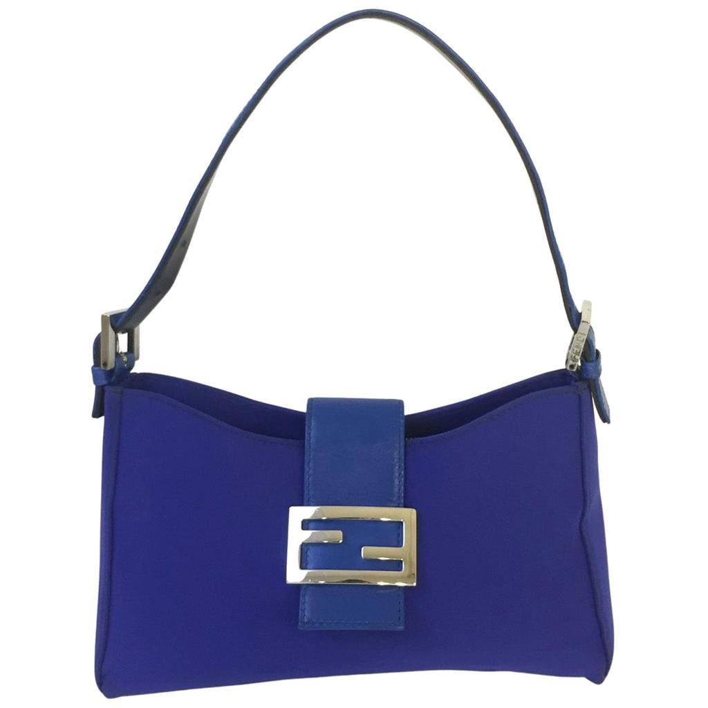 Vintage Fendi Shoulder Bag Cloth in blue color with silver hardware