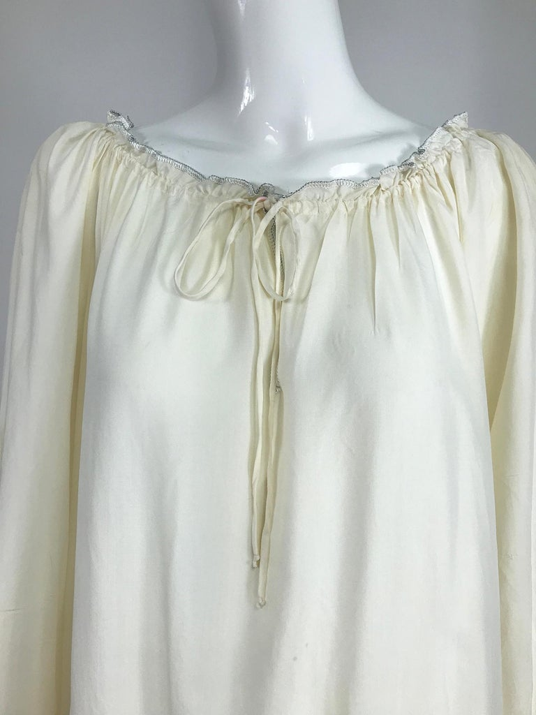Vintage Fernando Sanchez Cream Silk Bohemian Maxi Dress 1970s For Sale 5