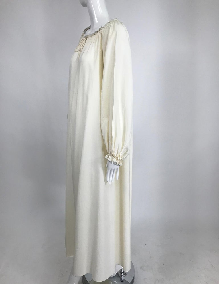 Gray Vintage Fernando Sanchez Cream Silk Bohemian Maxi Dress 1970s For Sale
